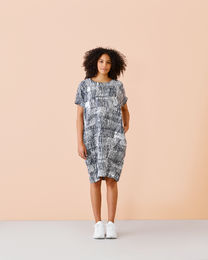 Papu LINEN DRESS SOUND WAVES, women