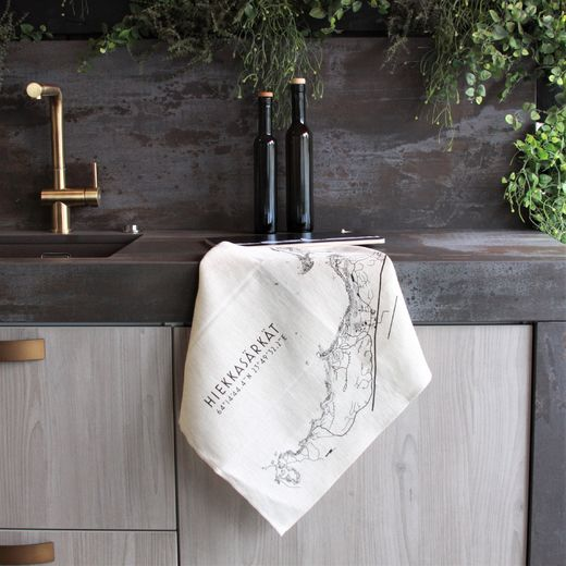 Linen towel with Hiekkasärkät map print