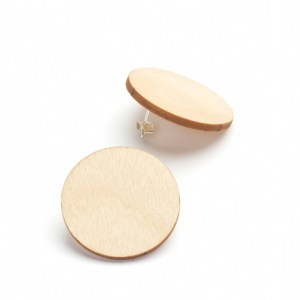 Korona earings, round, birch