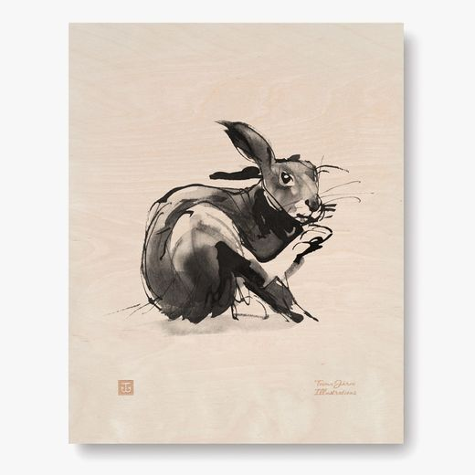 Plywood Poster European Hare 24x30 cm