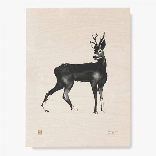 Plywood Poster Roe Deer 30x40