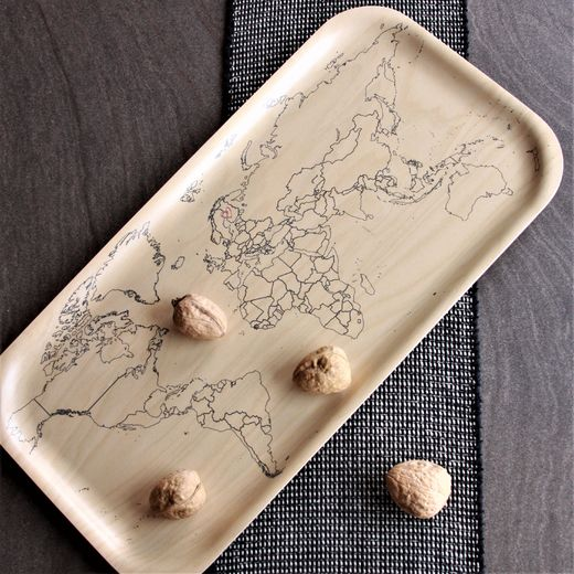 World map tray, 22x43 cm plywood