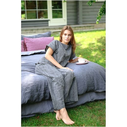 Linen nightwear set, grey/black