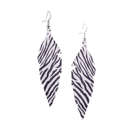 Viaminnet - FEATHERS Zepra midi Earrings, black & white