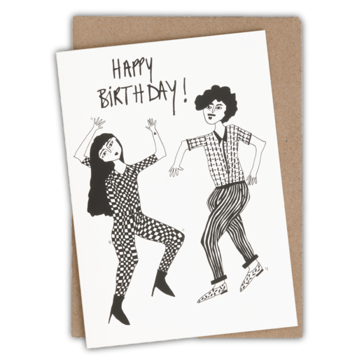 helen b - greeting card happy birthday danzing couple