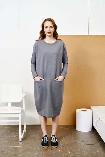 PAPU GIANT SPLIT DRESS, Melange grey