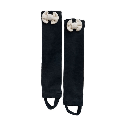 Bow Leg Warmers Black/Cream Melange, Kids One Size