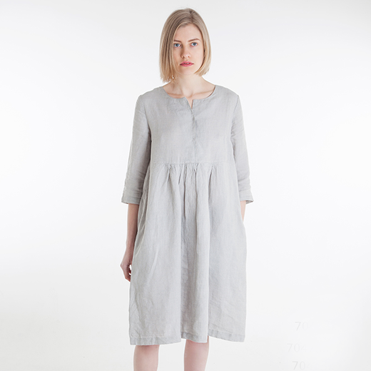 Linen dress ONA, smoke