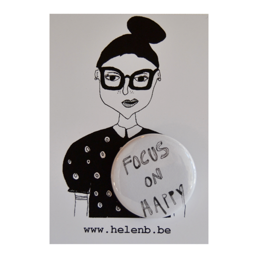 helen b - button pin focus on happy