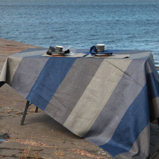 Tablecloth light 155x230 26L stripe oceanblue