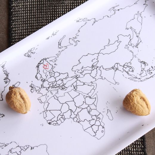 World map, Tray 22x43 white