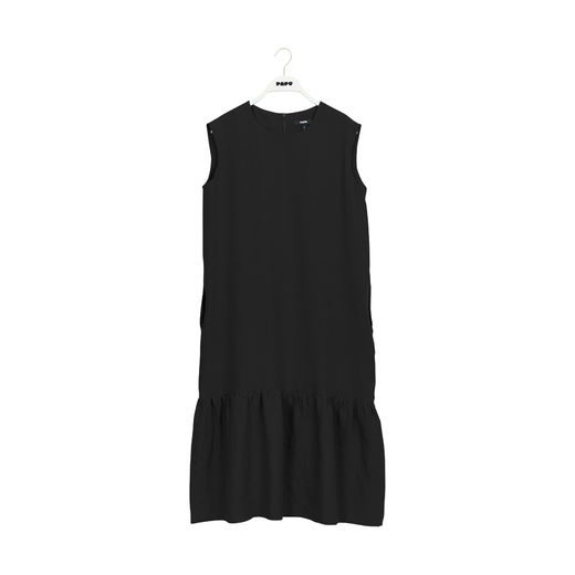 Papu GATHER HEM DRESS adult, BLACK, linen